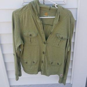 Button up light weight hoodie